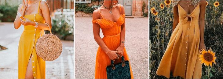 três mulheres usando vestidos com cores solares, sendo estas laranja e amarelo