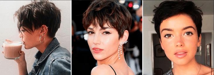 três mulheres com corte de cabelo na moda pixie cut