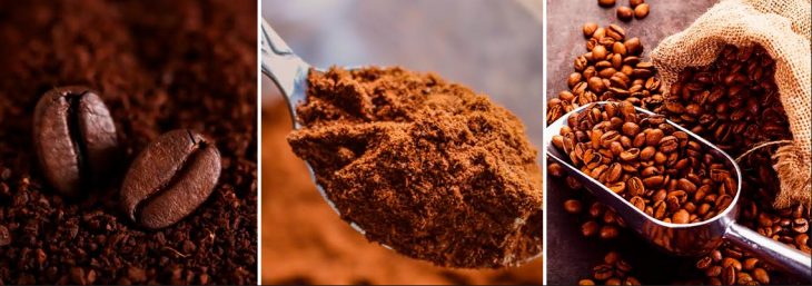 três imagens de café em grãos e em pó