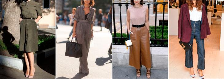 quatro fotos de diferentes mulheres posando usando roupas para baixinhas com a cintura marcada