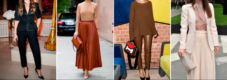 fotos de quatro mulheres diferentes desfilando com roupas nos tons preto, marrom e creme