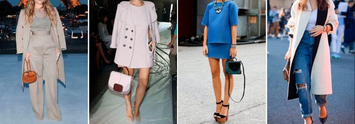 quatro fotos de mulheres diferentes usando diversos modelos de calças e saias