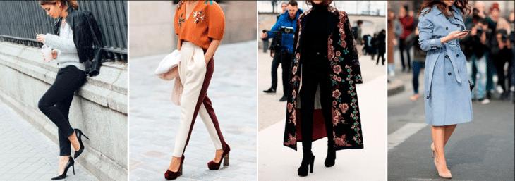 quatro fotos de mulheres andando pela rua com roupas para baixinhas e sapatos de salto alto