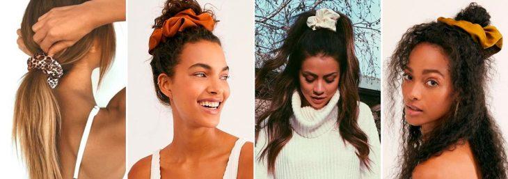 quatro fotos de mulheres usando o acessório scrunchie no cabelo