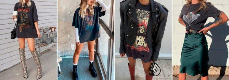 quatro fotos de mulheres usando camisetão preto com estampa
