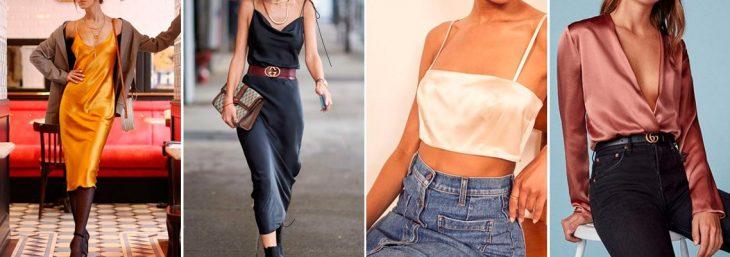 quatro fotos de mulheres usando peças de cetim, cropped, camiseta e vestido