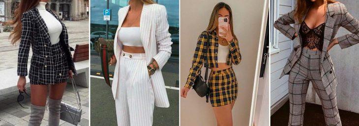 quatro fotos de mulheres usando conjuntinhos com blazer, calça e camiseta por dentro