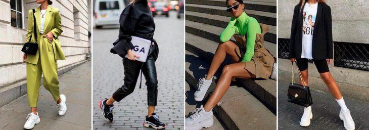 quatro fotos de mulheres caminhando pela rua usando deaddy sneakes nos pés
