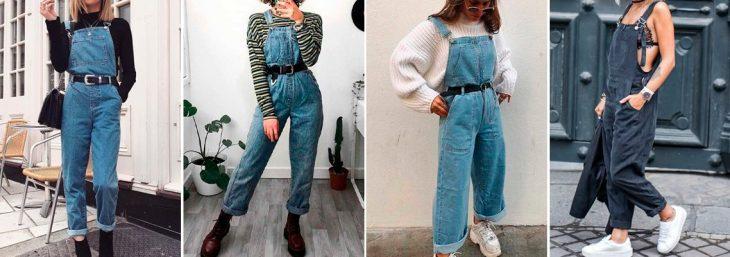quatro fotos de mulheres diferentes usando macacão jeans