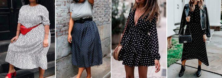 fotos de mulheres usando look vintage com vestido poa