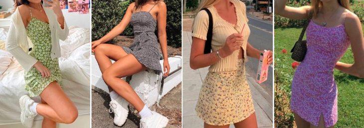 quatro fotos de mulheres usando vestidos colados ao corpo