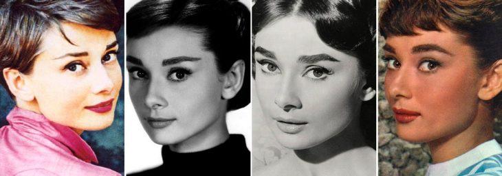 quatro imagens em diferentes cores da atriz audrey hepburn