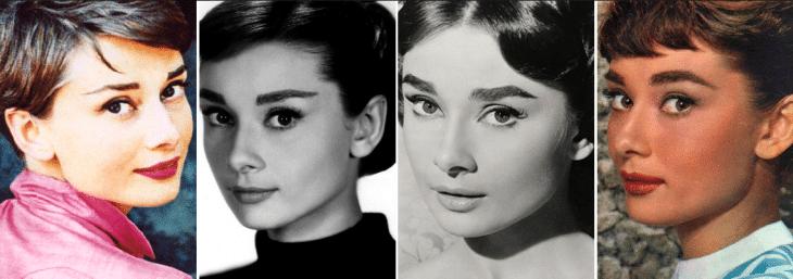 quatro fotos da atriz audrey hepburn em preto e branco e coloridas