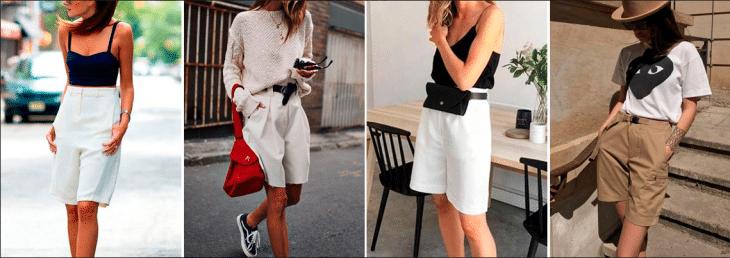 quatro fotos de mulheres diferentes usando bermudas de alfaiataria nas cores branca e bege