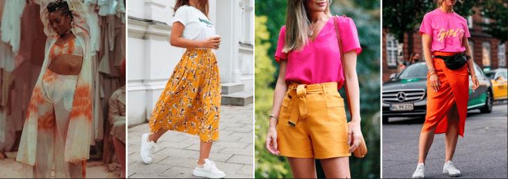 quatro fotos de mulheres diferentes usando roupas coloridas