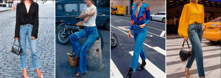 quatro fotos de mulheres diferentes andando pelas ruas usando jeans jane birkin na cor azul
