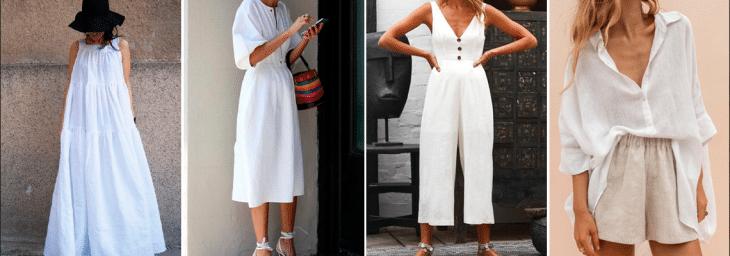 quatro fotos de mulheres usando roupas branca, como bermudas e vestidos, com modelagem ampla