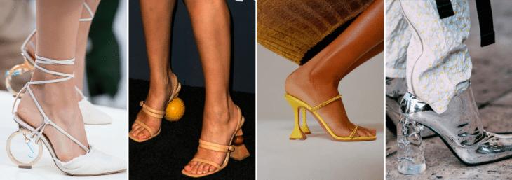 quatro fotos de pés femininos com saltos nas cores amarelas, bege, branca e cromado