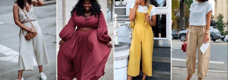 quatro fotos de mulheres diferentes usando roupas com texturas naturias nas cores brancas, amarela, bege e rosa