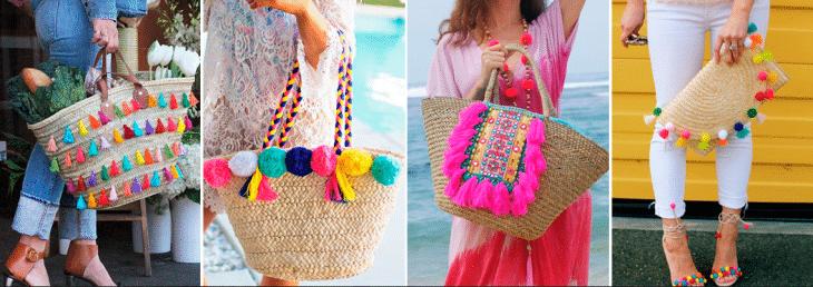 quatro fotos de mulheres segurando sacolas ou pequenas bolsas nas cores amarelo claro com detalhes coloridos