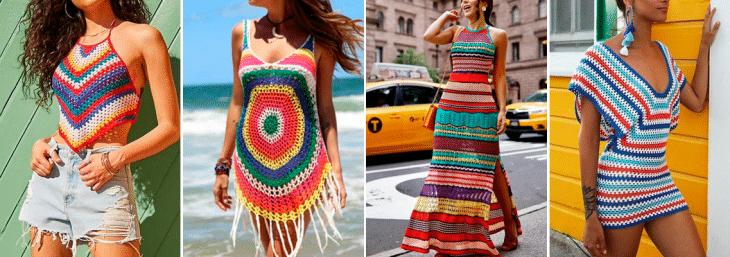 quatro fotos de mulheres usando roupas de tricot colorido, modelos como vestidos e camiseta sem manga ou alça