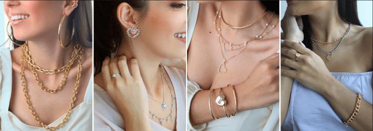 quatro fotos do busto de mulheres usando colares, brincos e pulseiras banhadas em ouro