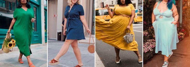 quatro fotos de mulheres usando looks casuais puls size de cores amarela, azul, verde e branco