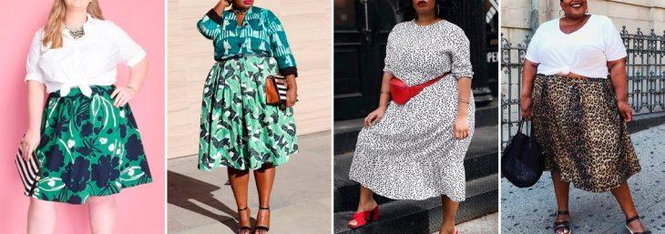 quatro fotos de mulheres usando looks plus size com estampas de diferentes cores