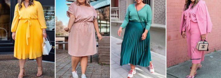 quatro fotos de mulheres usando looks plus size formados por apenas uma cor: rosa, verde e amarela