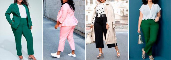 quatro fotos de mulheres usando looks plus size para o trabalho