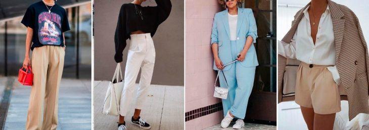 quatro fotos de diferentes mulheres usando peças de alfaiataria para compor looks discretos