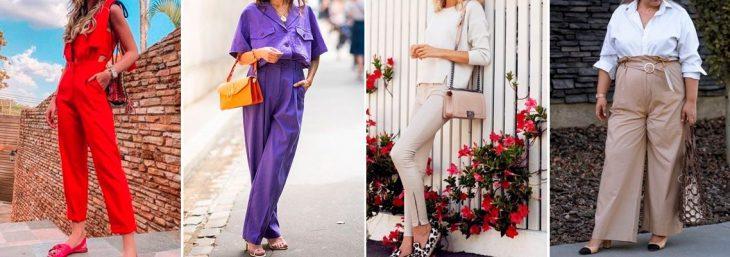 quatro fotos de mulheres usando roupas com monocromáticas com cores neutras