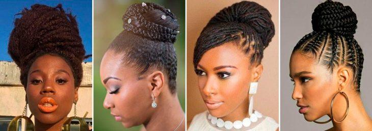 imagem de noivas usando o cabelo trançado preso no formato de coque