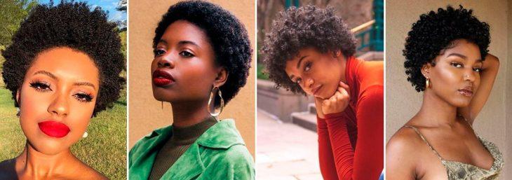 quatro fotos de mulheres usando um mini black power