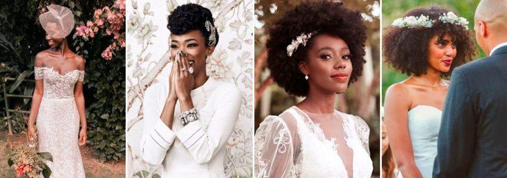 quatro fotos de noivas usando acessórios nos cabelos em seu casamento
