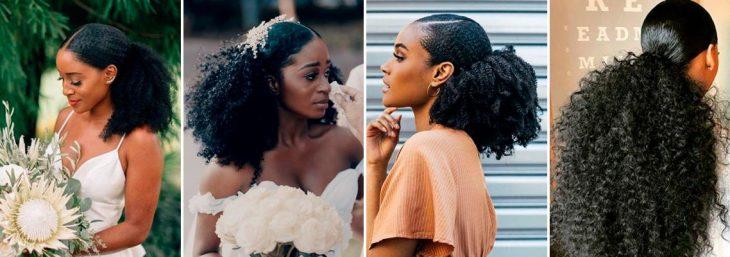 quatro fotos de noivas usando o cabelo meio preso