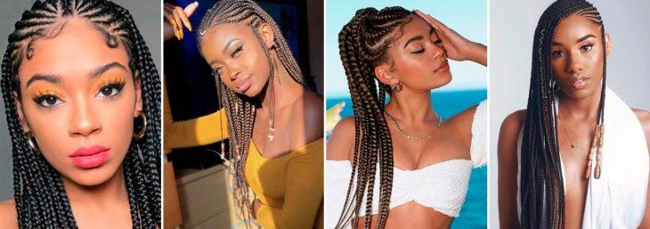 quatro fotos de modelos usando o penteado trança twist