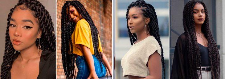 quatro fotos de mulheres usando penteado afro de trança