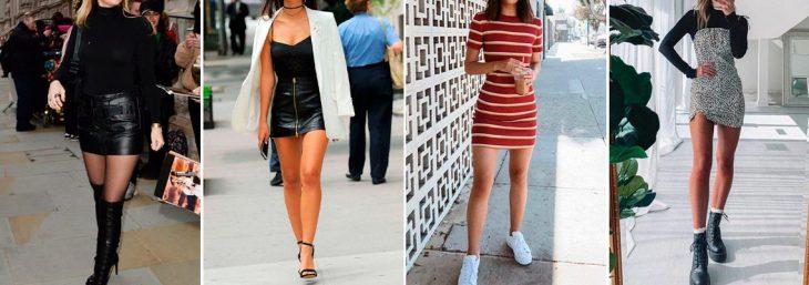 quatro fotos de mulheres usando vestido e minissaias