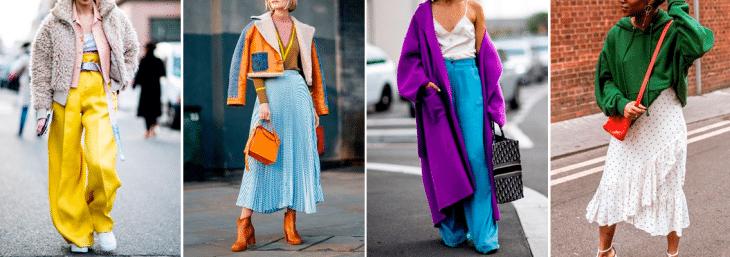 quatro fotos de mulheres altas usando looks coloridos com composições ousadas