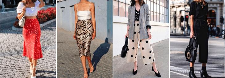 quatro fotos de mulheres usando saias, vestidos e calça pantacourt