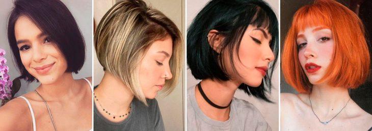 quatro fotos de mulheres usando corte para cabelo curto chanel