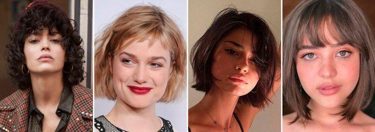 quatro imagens de mulheres diferentes usando corte para cabelo curto com franja