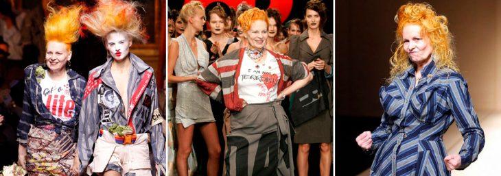 três fotos de vivienne westwoodem desfiles de moda