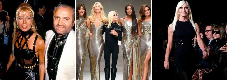 três imagens de donatella versacce em desfiles de moda