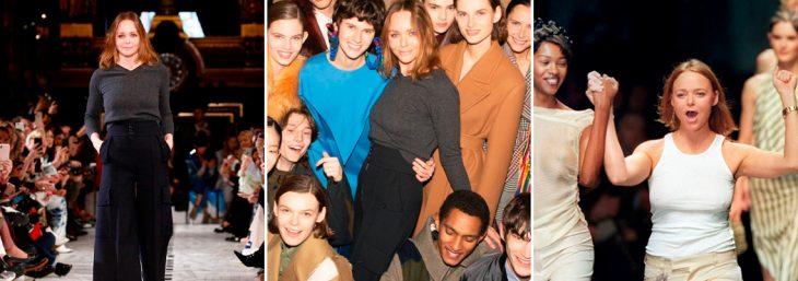 três imagens de stella mccartney em desfiles de moda