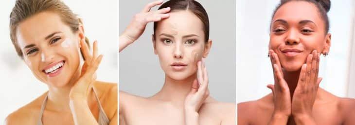 três imagens de mulheres aplicando filtro solar com cor para aplicação da maquiagem para home office