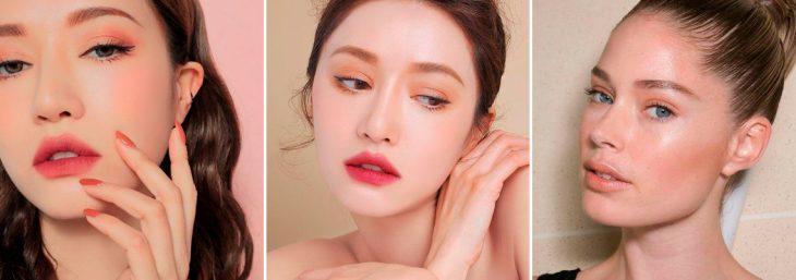 três fotos de mulheres destacando seus lábios com liptint