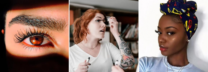 três imagens de mulheres aplicando u expondo sua máscara de cílios