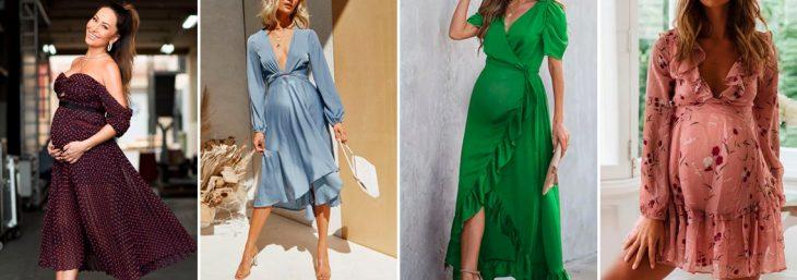 quatro fotos de mulheres usando vestidos para festa